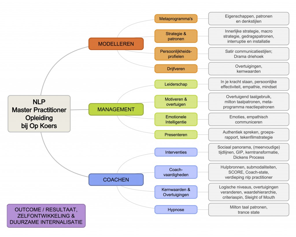 NLP Master Practitioner opleiding programma inhoud, de onderwerpen die in de NLP Master opleiding behandeld worden